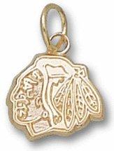 "Chicago Blackhawks 5/16"" Head Logo Charm - 10KT Gold Jewelry"