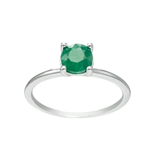 14K Gold 6mm Round Emerald Solitaire Ring