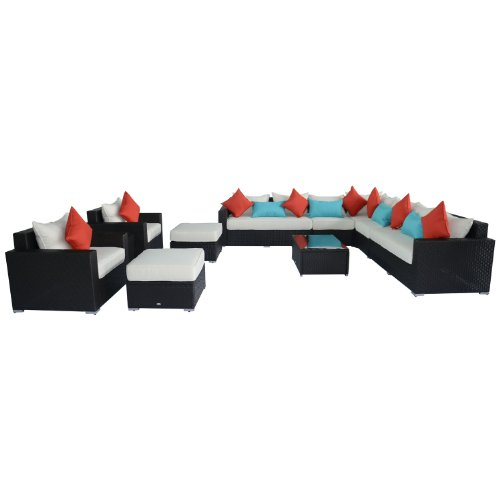 Outsunny 11-Piece Outdoor Rattan Wicker Sectional Sofa Furniture Set photo