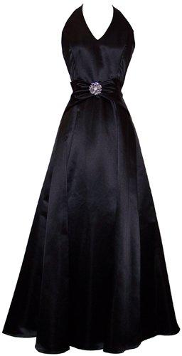 Satin Halter Dress Crystal Pin Prom Formal Prom Bridesmaid