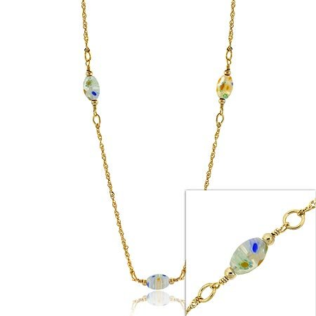 24K GOLD vermeil MURANO glass Millefiori NECKLACE 20