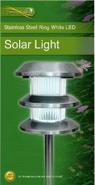 Ukayed Stainless Steel Ring White Led Solar Powered Garden Light