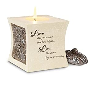 Comfort to Go by Pavilion Tea Light Candle Holder with Candle, Living Sentiment, 3-1/2 Inch, Tapered Square