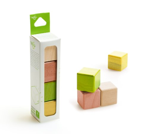 4 Piece Tegu Magnetic Wooden Block Cube Set, Jungle