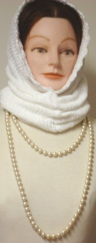 Hand Knitted and Finished with Hand Crochet One Ply White Chenille Winter and Spring Balaclava Offered in Combination with Simulated Ivory Pearl Very Long Chain Necklace