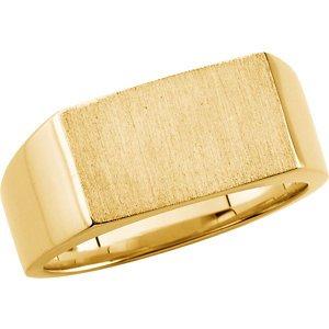 14K White Gold Men's Signet Ring Size: 12