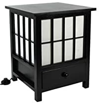 Hot Sale Oriental Furniture Eclectic Unusual Simple, 19-Inch Hokkaido End Table Nightstand Japanese Lantern Floor Lamp, BLACK