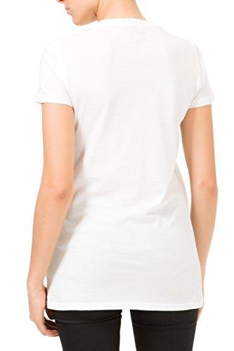 GAS HALIS 0001 Maglietta T-shirt donna bianca maniche corte borchiette applicate
