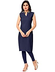 AHALYAA Blue Colored Sleeveless And Chiness Collar Faux Crepe Kurti