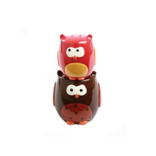 Stacking Owls Hand Painted Earthenware Salt & Pepper Set