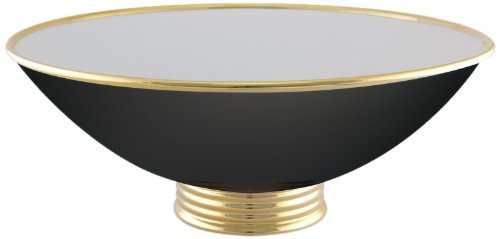 Maison Alma AR105BG Arienne Collection Decorative Center Bowl, 15-1/2-Inch, Black Limoges Porcelain with 24 Karat Gold Accents