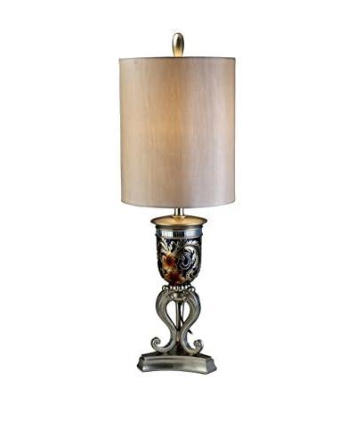 ORE International Cherry Blossoms 1-Light Table Lamp, Gold/Blue