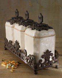 Fleur De Lis Cream Italian Style Canister Set