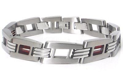 LAMBORGHINI Red White Red Titanium Steel Bracelet