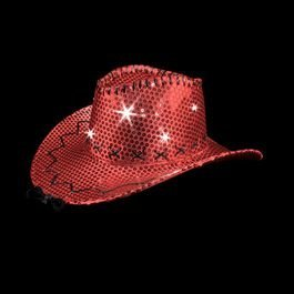 [LED Sequin Cowboy Hat with Fancy Stitching Red] (Child Red Cowboy Hat)