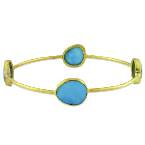 22k Yellow Gold Plated Silver 16ct TGW Turquoise Bangle