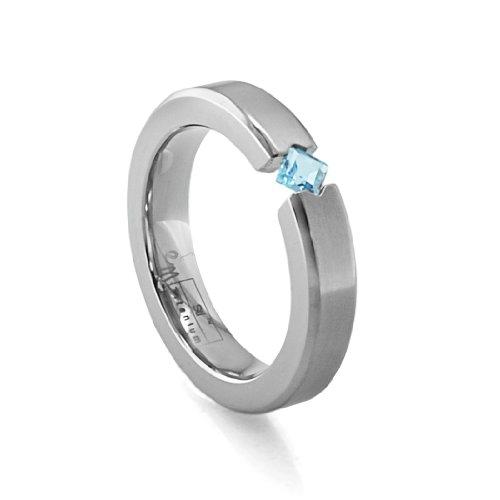 Women's Grey Titanium Princess-Cut Blue Topaz Ring , Size 7