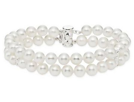 Sterling Silver Freshwater White Pearl Bracelet (7.5 inches)