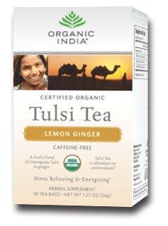 Organic India Tulsi Lemon Ginger Tea 18 Bags Per Box 4 Boxes