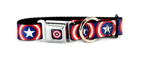 BUCKLE DOWN CAPTAIN AMERICA SHEILD DOG COLLAR LARGE 15-26 X 1 INCHES