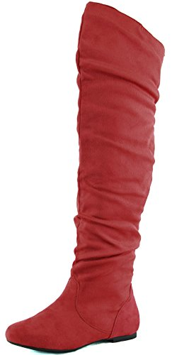 Daily (Red Leather Thigh High Boots)