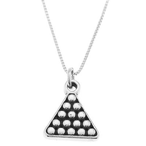 Sterling Silver One Sided Rack of Pool Balls Necklace