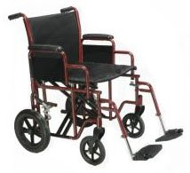"Transport Chair Heavy Duty Wheelchair, 22"" Seat Width, Chrome"