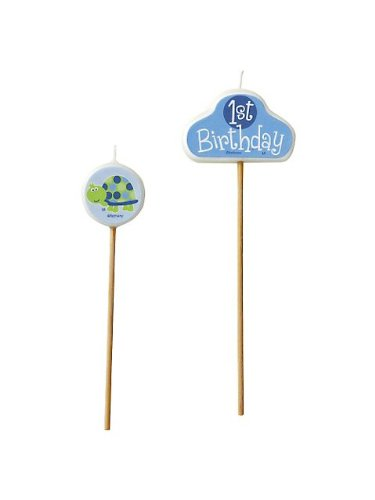 First Birthday Turtle Pick Candles (set of 3) - 1