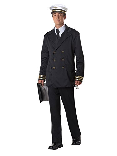 California Costumes Mens Retro Pilot Costume with Airline Captain Hat XL
