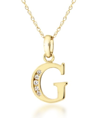 9ct Yellow Gold Cubic Zirconia 'G' Initial Pendant on Chain Necklace 46cm/18