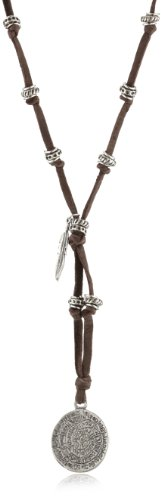 Ettika Men's Silver Colored Phaistos Coin with Feather Brown Leather Necklace
