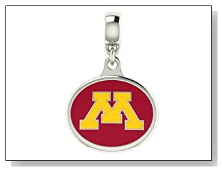 Minnesota Golden Gophers Collegiate Drop Charm Fits Most Pandora Style Bracelets Including Pandora Chamilia Zable Troll and More. High Quality Bead in Stock for Fast Shipping.