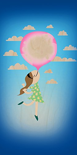 """""""Bubble Gum Girl"""" Funny Floating Away - Plywood Wood Print Poster Wall Art front-427813"""