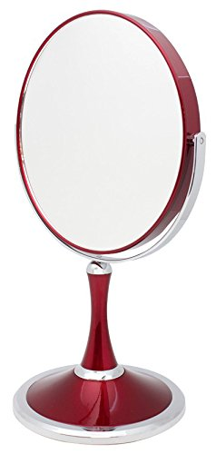 Danielle Chrome Dual Sided Swivel Vanity Make-Up Mirror With 7X Magnification, Red