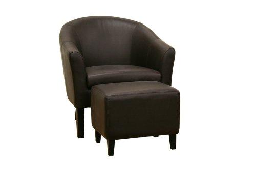 Tiptyn Dark Brown Leather Club Chair and Ottoman Set