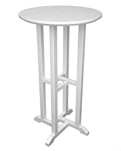 "Traditional 24"" Round Bar Height Table Frame Color: White"