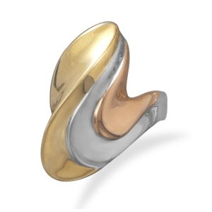 Tri Tone Wave Design Brass Ring / Size 10