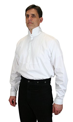 [Historical Emporium Men's Viceroy Victorian High Collar Dress Shirt L White] (Sweeney Todd Halloween)