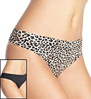 2 Pack Low Rise Animal Print Thongs