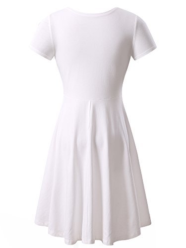 Women Short Sleeve Round Neck Summer Casual Flared Midi Dress Medium White