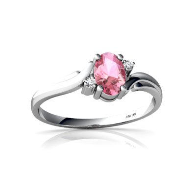 Created Pink Sapphire 14ct White Gold Ring