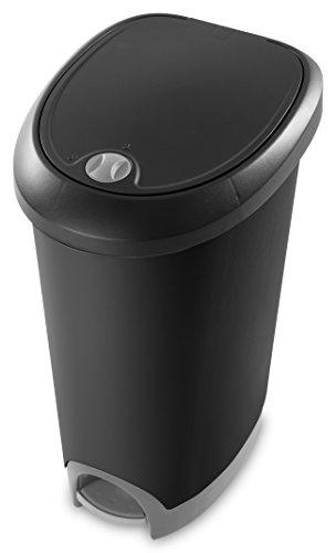 Sterilite 10739002 12.6 Gallon/ 48 Liter Locking StepOn Wastebasket, Black Lid & Base w/ Titanium Pedal & Lock, 2-Pack (Locking Trash Can compare prices)