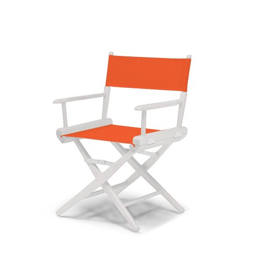 Telescope Casual World Famous Dining Height Director Chair, Orange With White Frame