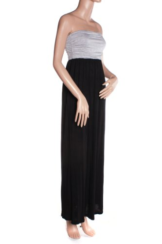 Absolute Clothing Women'S Soft Tube Top Long Maxi Dress (Large, Gray/Black) front-682122