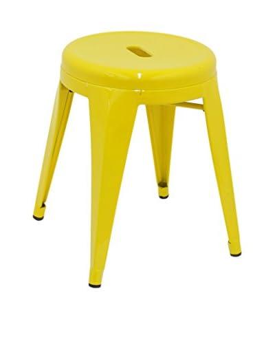 Three Hands Short Metal Stool, Yellow