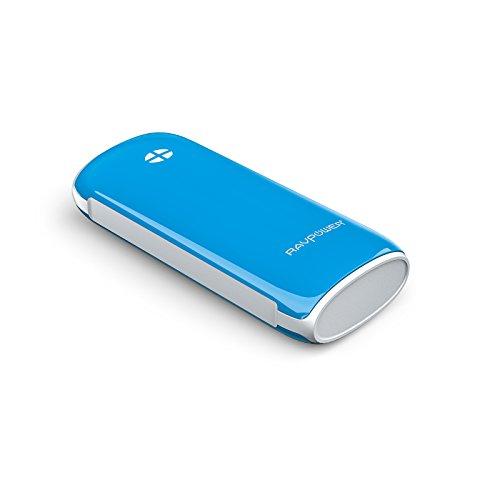 改良版RAVPower 6000mAh多彩シリーズ大容量モバイルバッテリー1年間の安心保証5V/2.1A出力iPhone6plus/6/5S/5C/5/4S・iPad Air/mini・apple社その他製品・Xperia・GALAXY S・softbank・au・docomo・各種タブレット・Wi-Fiルータ・各社Androidスマホ/ウォークマン等マルチデバイス(ブルー)RP-PB17