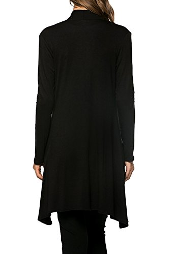 Modern Kiwi Solid Cascading Knit Pocket Cardigan Black Medium