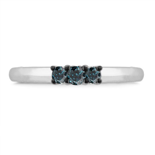 Platinum Plated Sterling Silver Blue Round Diamond Three Stone Promise Ring (1/5 cttw)