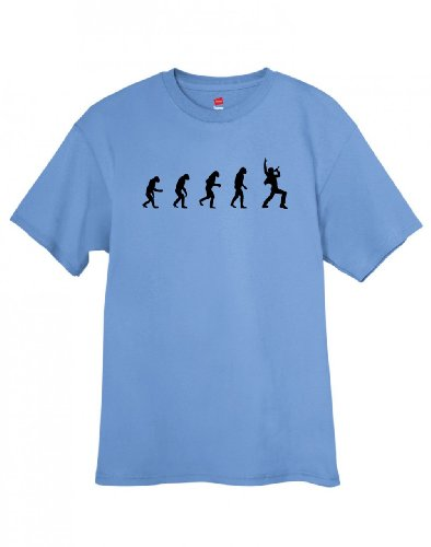 Shirtloco Men'S Evolution Of Man To Singer T-Shirt, Carolina Blue 2Xl