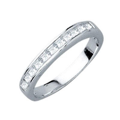 Sterling Silver Clear Cubic Zirconia 2 mm Half Eternity Wedding Band Ring - Size 9